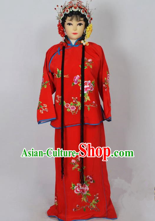 Traditional Chinese Professional Peking Opera Jordan-Sitting Costume Red Embroidery Dress, Children China Beijing Opera Diva Hua Tan Embroidered Maidservants Clothing
