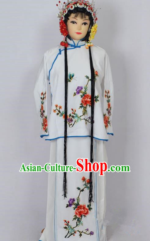Traditional Chinese Professional Peking Opera Jordan-Sitting Costume White Embroidery Dress, Children China Beijing Opera Diva Hua Tan Embroidered Maidservants Clothing