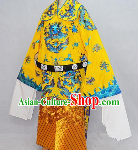 Traditional Chinese Professional Peking Opera Emperor Costume Embroidery Dragon Robe, Children China Beijing Opera King Embroidered Robe Clothing
