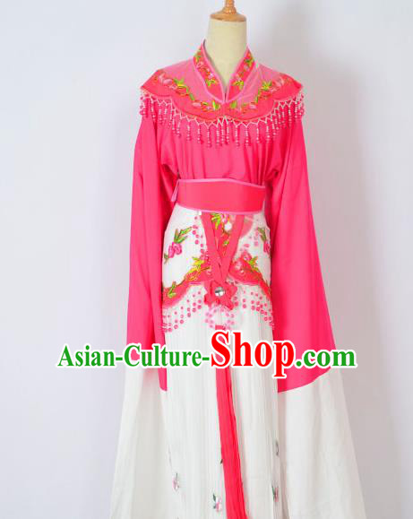 Traditional Chinese Professional Peking Opera Huangmei Opera Young Lady Princess Costume Rosy Embroidery Dress, China Beijing Opera Diva Hua Tan Embroidered Clothing