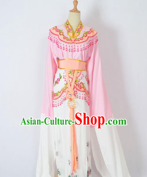 Traditional Chinese Professional Peking Opera Huangmei Opera Young Lady Princess Costume Pink Embroidery Dress, China Beijing Opera Diva Hua Tan Embroidered Clothing