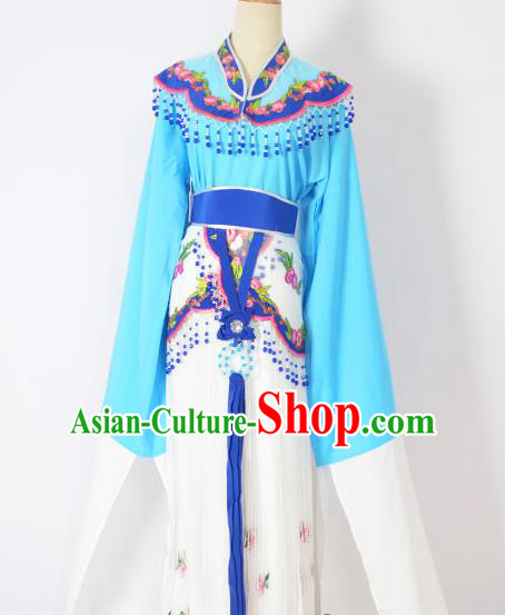 Traditional Chinese Professional Peking Opera Huangmei Opera Young Lady Princess Costume Deep Blue Embroidery Dress, China Beijing Opera Diva Hua Tan Embroidered Clothing