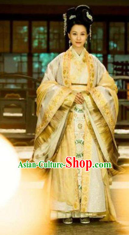 Traditional Chinese Ming Dynasty Imperial Empress Costume and Headpiece Complete Set, China Ancient Queen Hanfu Dress Clothing for Women