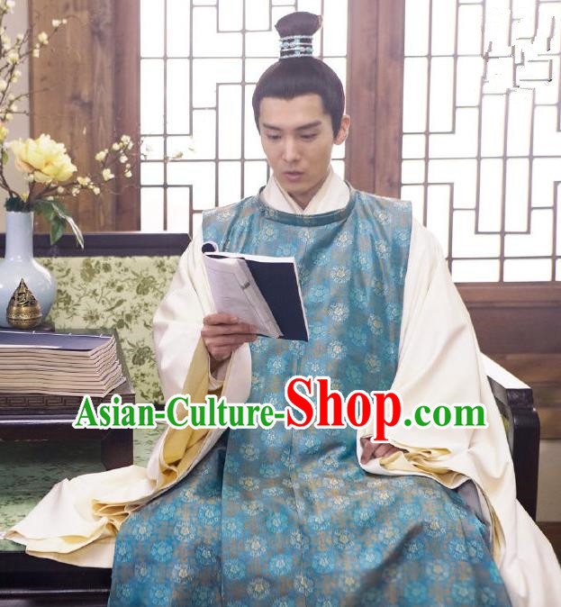 Traditional Chinese Ming Dynasty Imperial Emperor Costume and Headpiece Complete Set, China Ancient King Hanfu Robe Clothing for Men