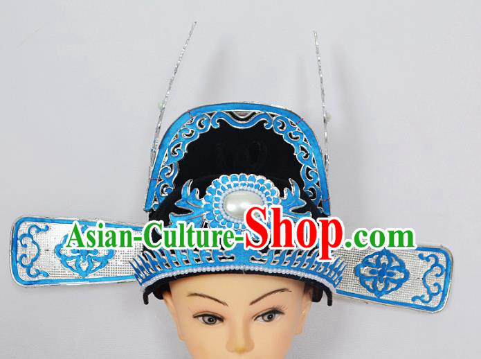 Traditional Handmade Chinese Classical Peking Opera Niche Hair Accessories Black Hat, China Beijing Opera Lang Scholar County Officials Headwear
