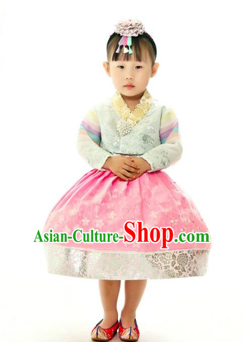 Traditional South Korean Handmade Embroidery Hanbok Children Birthday Pink Full Dress, Top Grade Korea Hanbok Costume Complete Set for Kids