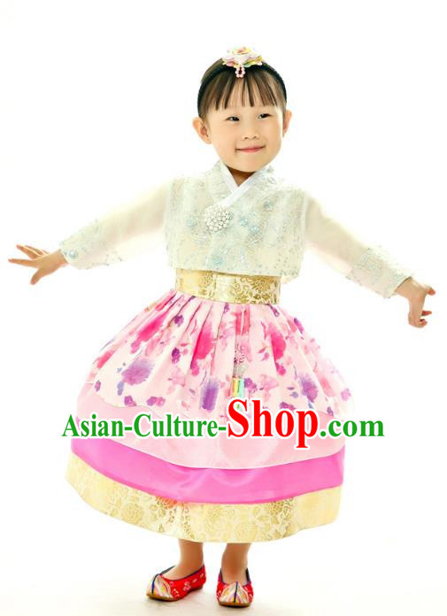 Traditional South Korean Handmade Embroidery Hanbok Children Birthday Princess Pink Full Dress, Top Grade Korea Hanbok Costume Complete Set for Kids