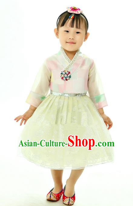 Traditional South Korean Handmade Embroidery Hanbok Children Birthday Green Full Dress, Top Grade Korea Hanbok Costume Complete Set for Kids