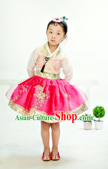 Traditional South Korean Handmade Hanbok Children Embroidery Birthday Rosy Bubble Dress, Top Grade Korea Hanbok Costume Complete Set for Kids