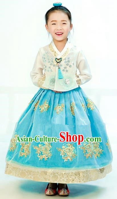 Traditional South Korean Handmade Hanbok Children Embroidery Birthday Blue Dress, Top Grade Korea Hanbok Costume Complete Set for Kids