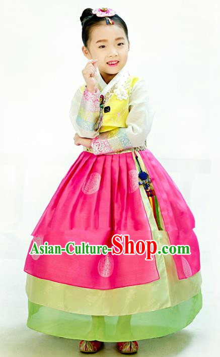 Traditional South Korean Handmade Hanbok Children Embroidery Birthday Rosy Dress, Top Grade Korea Hanbok Costume Complete Set for Kids