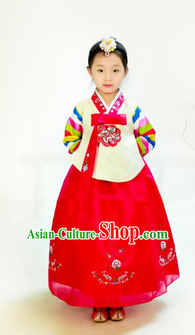 Traditional South Korean Handmade Hanbok Children Birthday Embroidery Beige Blouse Dress, Top Grade Korea Hanbok Costume Complete Set for Girls