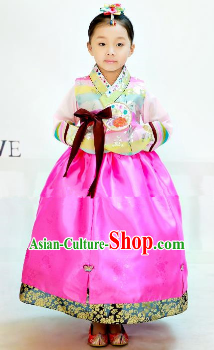 Traditional South Korean Handmade Hanbok Children Birthday Beige Blouse Rosy Dress, Top Grade Korea Hanbok Costume Complete Set for Girls