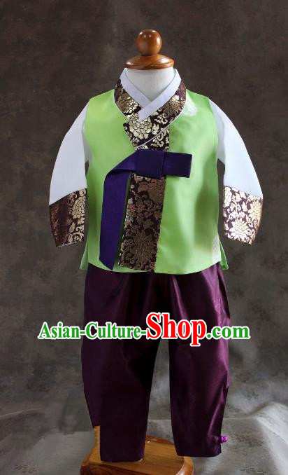 Traditional South Korean Handmade Hanbok Children Baby Birthday Customization Green Clothing, Top Grade Korea Hanbok Costume Complete Set for Boys