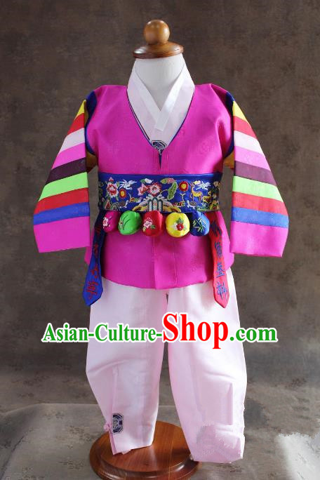 Traditional South Korean Handmade Hanbok Children Baby Birthday Customization Rosy Clothing and Embroidery Belt, Top Grade Korea Hanbok Costume Complete Set for Boys