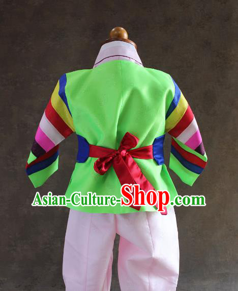 Traditional South Korean Handmade Hanbok Children Baby Birthday Customization Green Clothing and Embroidery Belt, Top Grade Korea Hanbok Costume Complete Set for Boys