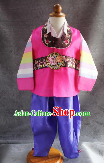 Traditional South Korean Handmade Hanbok Children Baby Birthday Rosy Clothing, Top Grade Korea Hanbok Costume Complete Set for Boys