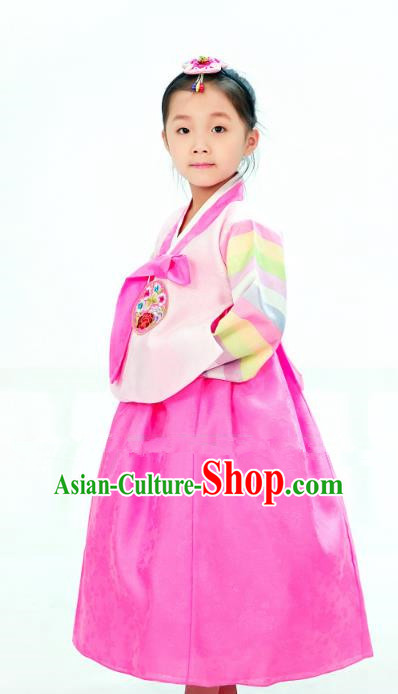Traditional South Korean Handmade Hanbok Children Little Girls Birthday Customization Embroidery Pink Blouse and Dress Complete Set, Top Grade Korea Hanbok Costume for Kids