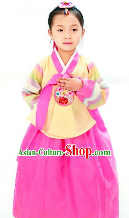 Traditional South Korean Handmade Hanbok Children Little Girls Birthday Customization Embroidery Yellow Blouse and Dress Complete Set, Top Grade Korea Hanbok Costume for Kids