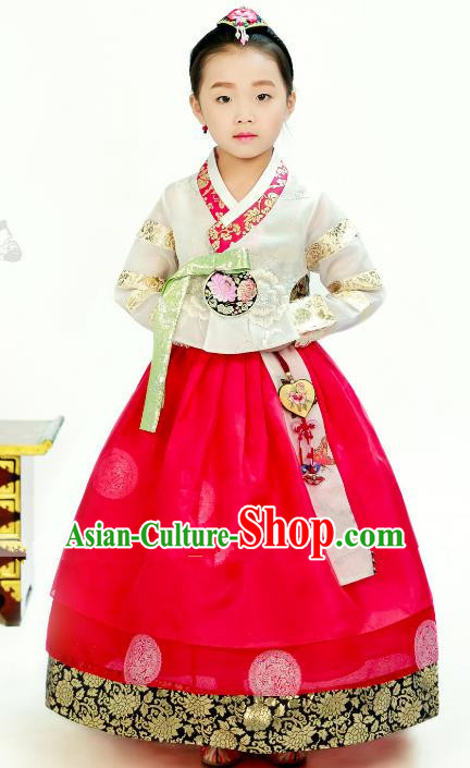 Traditional South Korean Handmade Hanbok Children Little Girls Birthday Customization Embroidery White Blouse and Dress Complete Set, Top Grade Korea Hanbok Costume for Kids