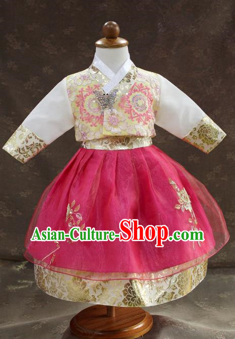Traditional South Korean Handmade Hanbok Children Little Princess Birthday Customization Embroidery Rosy Dress Complete Set, Top Grade Korea Royal Hanbok Costume for Kids