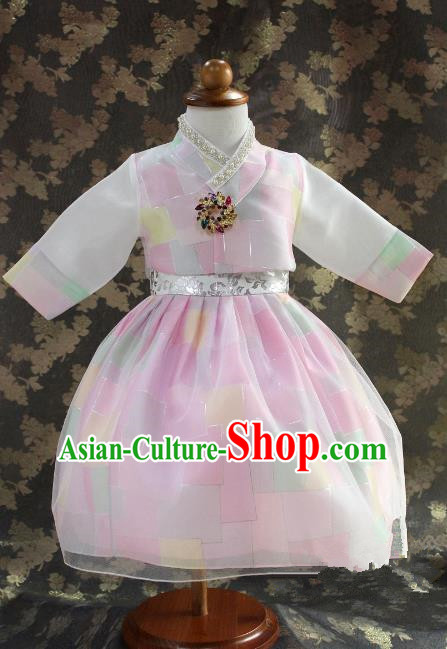 Traditional South Korean Handmade Hanbok Children Little Princess Birthday Customization Pink Dress Complete Set, Top Grade Korea Royal Hanbok Costume for Kids