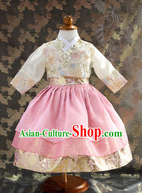 Traditional South Korean Handmade Hanbok Children Little Princess Pink Dress Birthday Customization Embroidery Clothing, Top Grade Korea Royal Hanbok Costume for Kids
