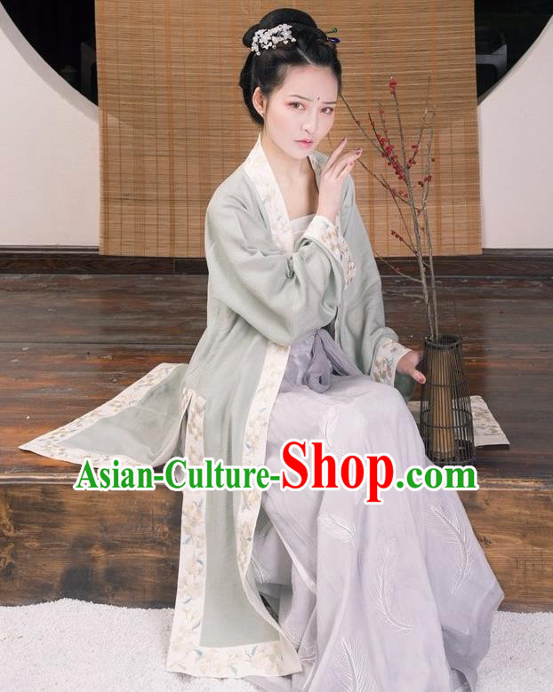 Traditional Ancient Chinese Young Lady Costume Embroidered Long Cardigan, Elegant Hanfu Clothing Chinese Song Dynasty Imperial Princess Clothing for Women