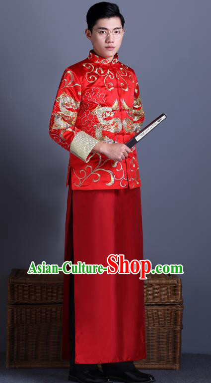 Ancient Chinese Costume Chinese Style Wedding Dress Ancient Dragon And Phoenix Flown Groom Toast Clothing Mandarin Jacket For Men