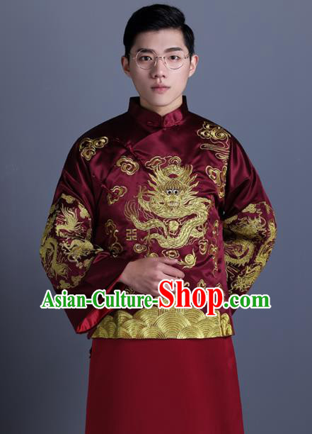 Ancient Chinese Costume Chinese Style Wedding Dress Ancient Embroidery Dragon Flown, Groom Toast Clothing Mandarin Jacket For Men
