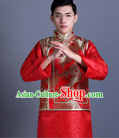 Ancient Chinese Costume Chinese Style Wedding Dress Ancient Embroidery Dragon Vest, Groom Toast Clothing Mandarin Jacket For Men