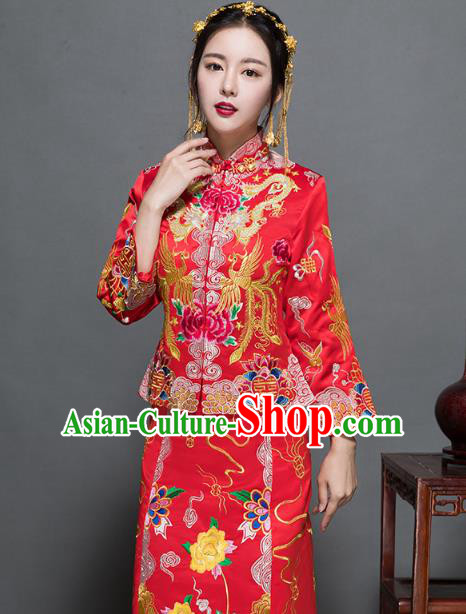 Traditional Ancient Chinese Wedding Costume Handmade XiuHe Suits Embroidery Dragons Phoenix Peony Bride Toast Cheongsam Dress, Chinese Style Hanfu Wedding Clothing for Women