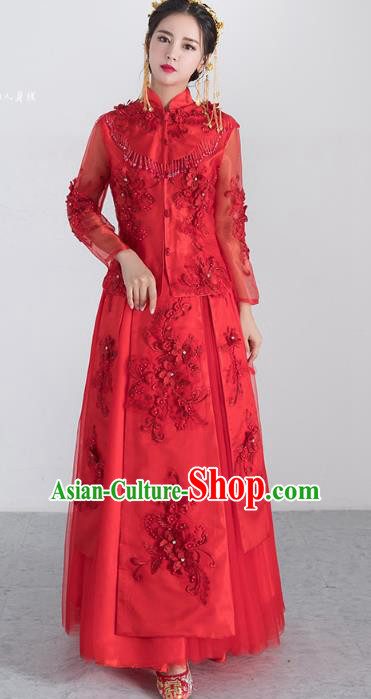 Traditional Ancient Chinese Wedding Costume Handmade XiuHe Suits Embroidery Bride Toast Red Cheongsam Dress, Chinese Style Hanfu Wedding Clothing for Women