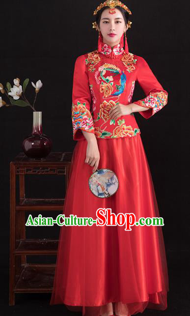 Traditional Ancient Chinese Wedding Costume Handmade XiuHe Suits Embroidery Peony Longfeng Gown Bride Toast Cheongsam Dress, Chinese Style Hanfu Wedding Clothing for Women