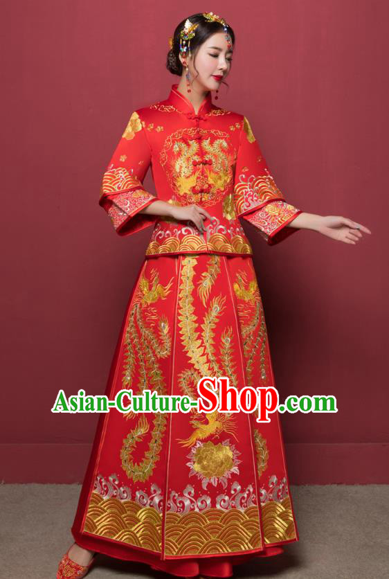 Traditional Ancient Chinese Wedding Costume Handmade XiuHe Suits Embroidery Phoenix Dress Bride Toast Plated Buttons Cheongsam, Chinese Style Hanfu Wedding Clothing for Women