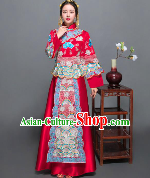 Traditional Ancient Chinese Wedding Costume Handmade XiuHe Suits Blue Embroidery Peony Dress Bride Toast Cheongsam, Chinese Style Hanfu Wedding Clothing for Women