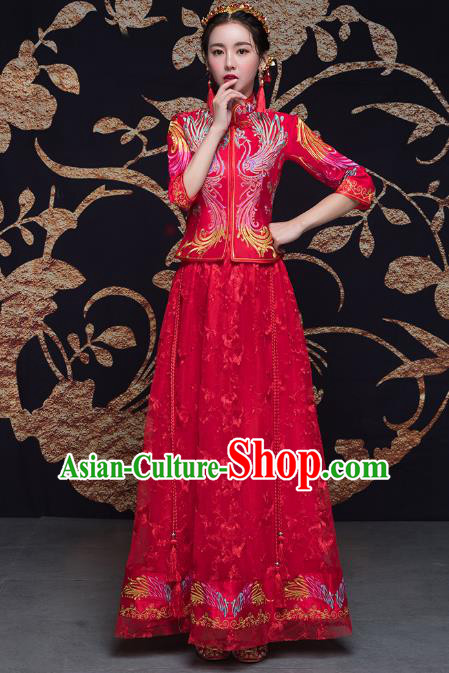 Traditional Ancient Chinese Wedding Costume Handmade Double-deck Embroidery Bottom Drawer Xiuhe Suits, Chinese Style Wedding Dress Red Dragon and Phoenix Flown Bride Toast Cheongsam for Women