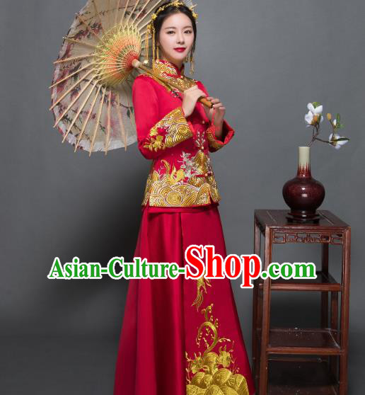 Traditional Ancient Chinese Wedding Costume Handmade Delicacy Embroidery XiuHe Suits, Chinese Style Wedding Dress Flown Bride Toast Cheongsam for Women