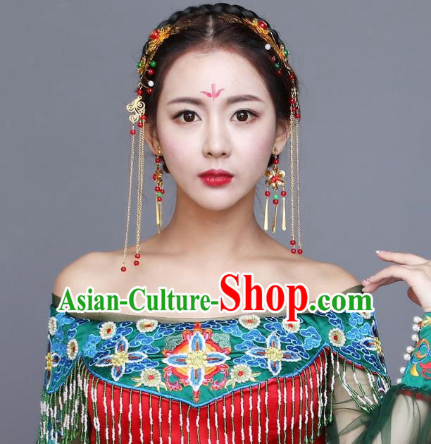 Traditional Handmade Chinese Ancient Classical Hair Accessories Complete Set Bride Wedding Barrettes Hair Clasp, Xiuhe Suit Hair Jewellery Hair Fascinators Hairpins for Women