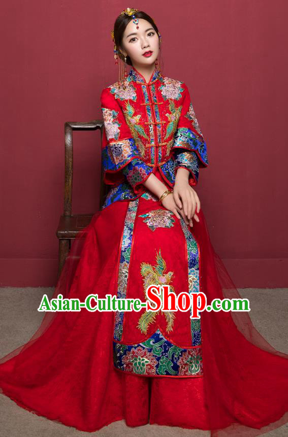 Traditional Ancient Chinese Wedding Costume Handmade Delicacy Embroidery Veil Longfeng Flown XiuHe Suits, Chinese Style Hanfu Wedding Dress Bride Toast Cheongsam for Women