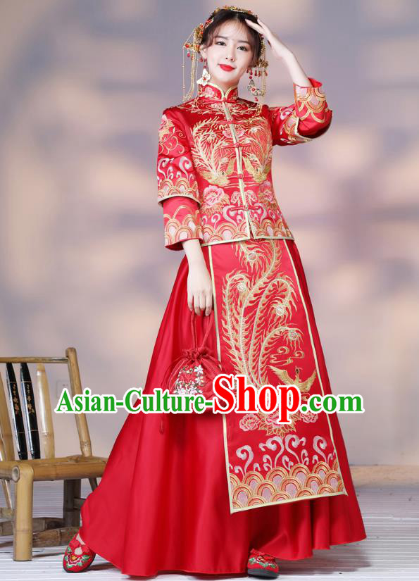Traditional Ancient Chinese Wedding Costume Handmade Delicacy Embroidery Phoenix Slim Longfeng Flown XiuHe Suits, Chinese Style Hanfu Wedding Dress Bride Toast Cheongsam for Women