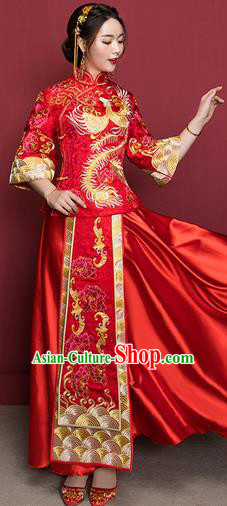 Traditional Ancient Chinese Wedding Costume Handmade Delicacy Embroidery Phoenix XiuHe Suits Middle Sleeve Plated Buttons Dress, Chinese Style Hanfu Wedding Bride Toast Cheongsam for Women