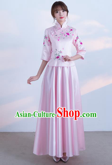 Traditional Ancient Chinese Wedding Costume Handmade Delicacy Embroidery Qipao Dress, Chinese Style Hanfu Wedding Toast Pink Cheongsam for Women