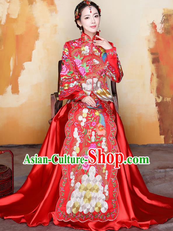 Traditional Ancient Chinese Wedding Costume Handmade Delicacy Embroidery Phoenix Peony Red Trailing XiuHe Suits, Chinese Style Hanfu Wedding Bride Toast Cheongsam for Women
