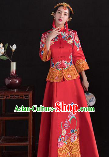 Traditional Ancient Chinese Wedding Costume Handmade Delicacy Full Embroidery Peony Middle Sleeve XiuHe Suits, Chinese Style Hanfu Wedding Bride Toast Cheongsam for Women