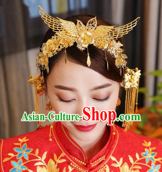 Traditional Handmade Chinese Ancient Classical Hair Accessories Bride Wedding Tassel Phoenix Coronet Hair Comb, Xiuhe Suit Hair Jewellery Hair Fascinators Hairpins for Women