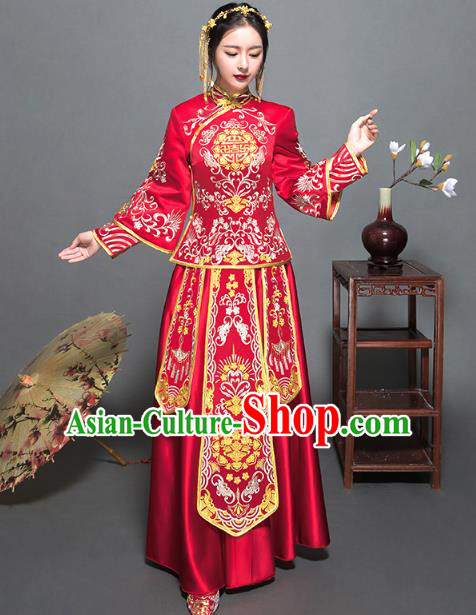 Traditional Ancient Chinese Wedding Costume Handmade Delicacy XiuHe Suits Embroidery Palace Bottom Drawer Cheongsam Dress, Chinese Style Hanfu Wedding Bride Hanfu Clothing for Women