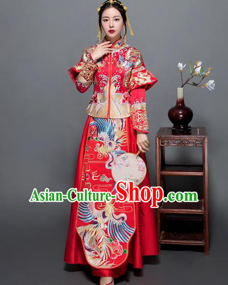 Traditional Ancient Chinese Wedding Costume Handmade Delicacy XiuHe Suits Embroidery Phoenix Palace Bottom Drawer Cheongsam Dress, Chinese Style Hanfu Wedding Bride Hanfu Clothing for Women