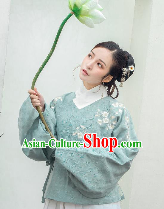 Traditional Ancient Chinese Ming Dynasty Palace Lady Costume Embroidered Blouse, Elegant Hanfu Clothing Chinese Imperial Princess Sleeve Placket Shirts for Women