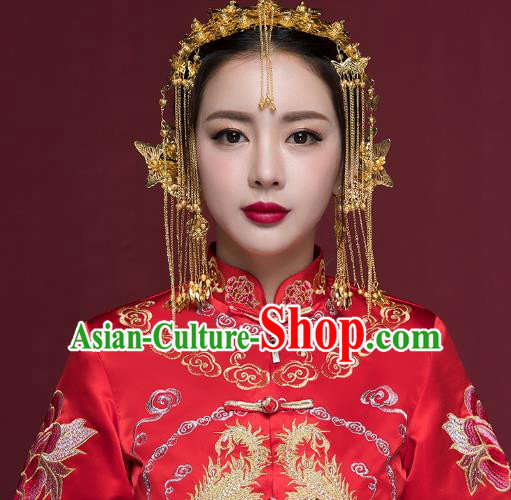 Traditional Handmade Chinese Ancient Classical Hair Accessories Bride Wedding Hair Clasp Phoenix Coronet, Xiuhe Suit Hair Jewellery Hair Fascinators Hairpins for Women